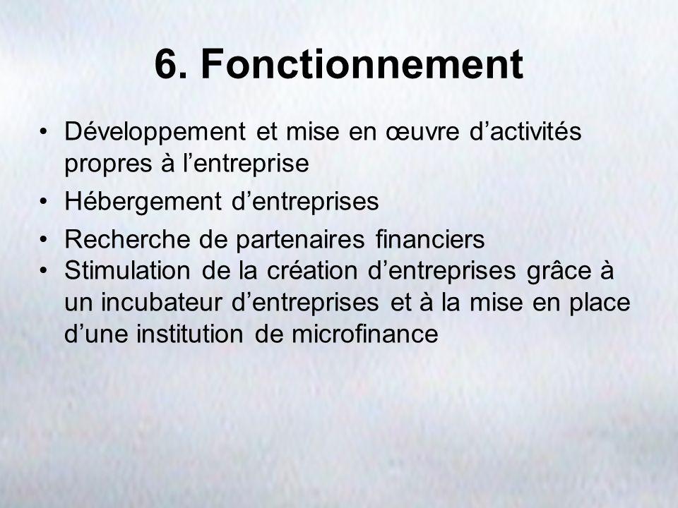 6. Fonctionnement Développement et mise en œuvre dactivités propres à lentreprise Hébergement dentreprises Recherche de partenaires financiers Stimula