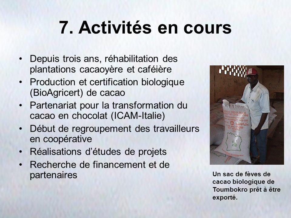 7. Activités en cours Depuis trois ans, réhabilitation des plantations cacaoyère et caféière Production et certification biologique (BioAgricert) de c