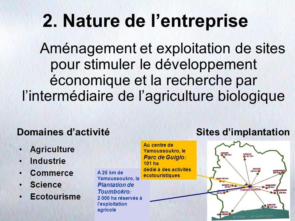 2. Nature de lentreprise Aménagement et exploitation de sites pour stimuler le développement économique et la recherche par lintermédiaire de lagricul
