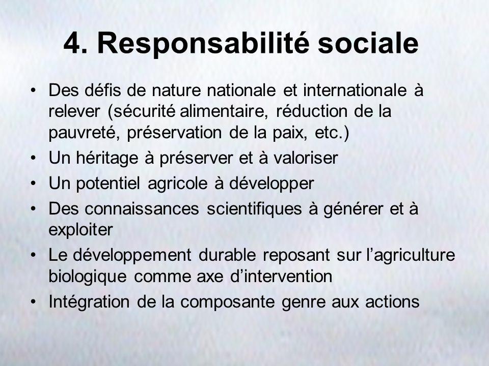 4. Responsabilité sociale Des défis de nature nationale et internationale à relever (sécurité alimentaire, réduction de la pauvreté, préservation de l
