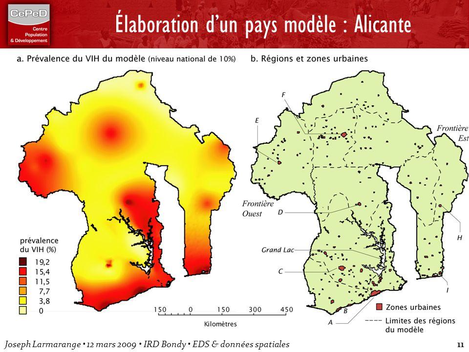 Joseph Larmarange 12 mars 2009 IRD Bondy EDS & données spatiales11 Élaboration dun pays modèle : Alicante