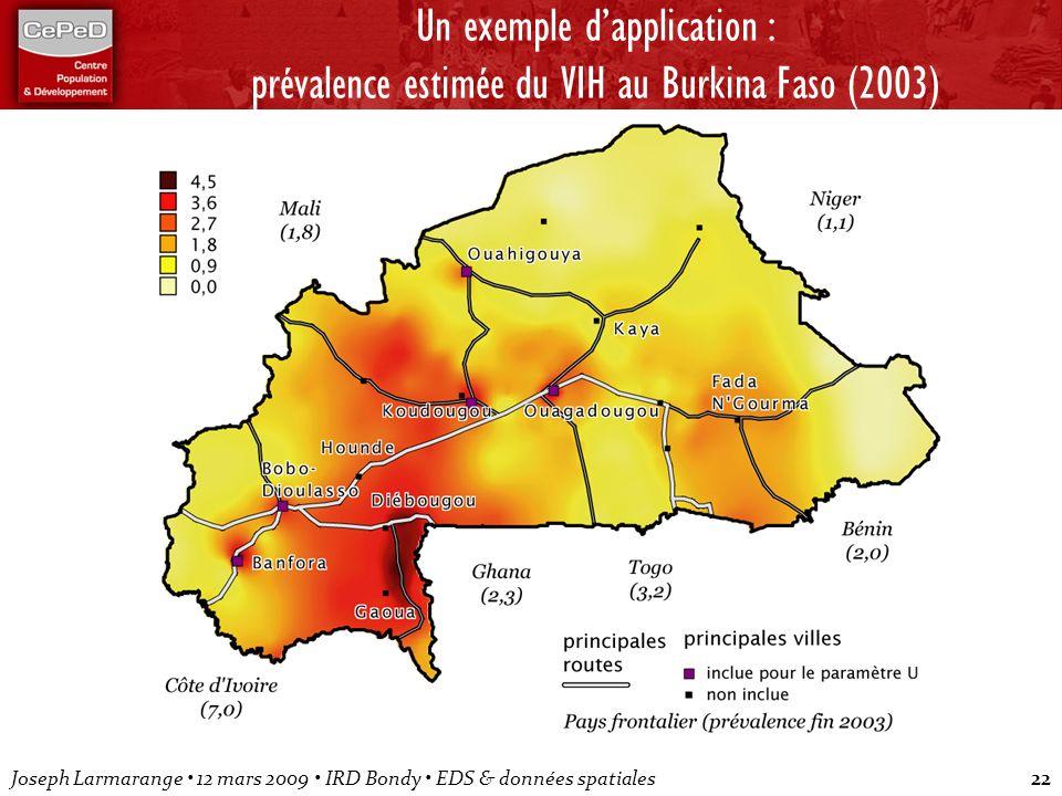 Joseph Larmarange 12 mars 2009 IRD Bondy EDS & données spatiales22 Un exemple dapplication : prévalence estimée du VIH au Burkina Faso (2003)