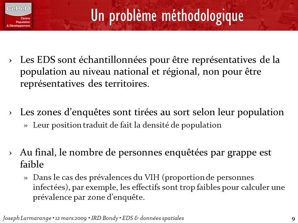 Joseph Larmarange 12 mars 2009 IRD Bondy EDS & données spatiales9 Un problème méthodologique Les EDS sont échantillonnées pour être représentatives de