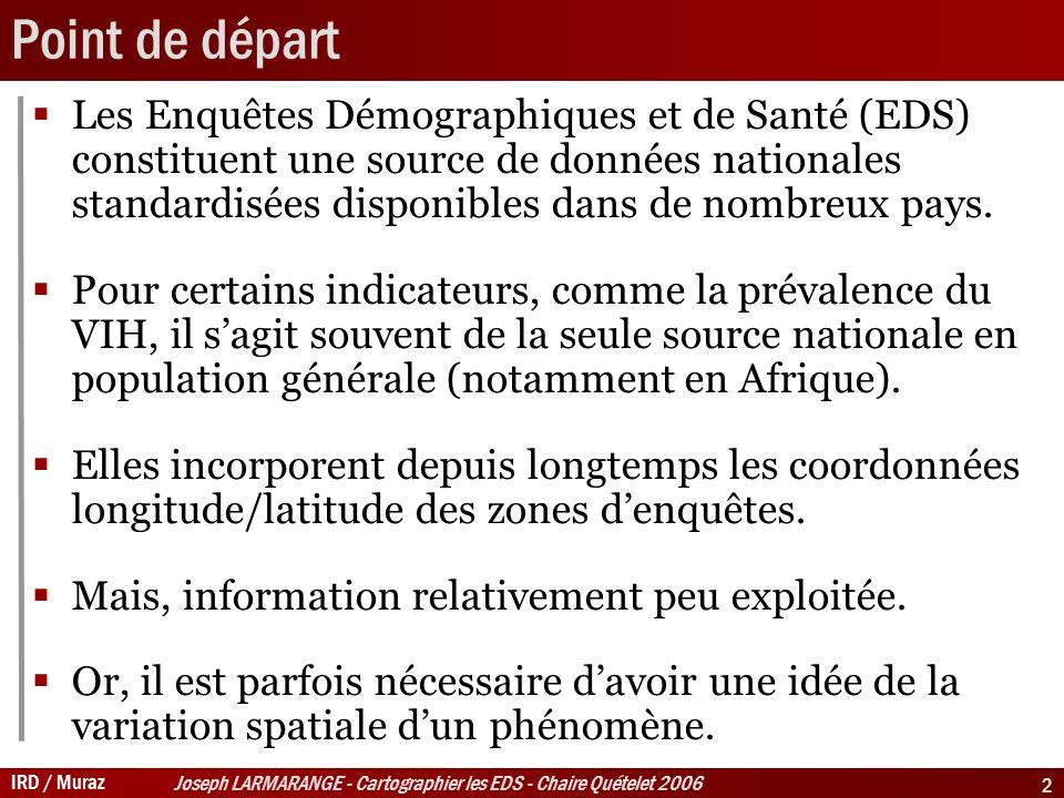 IRD / Muraz Joseph LARMARANGE - Cartographier les EDS - Chaire Quételet 2006 2 Point de départ Les Enquêtes Démographiques et de Santé (EDS) constituent une source de données nationales standardisées disponibles dans de nombreux pays.