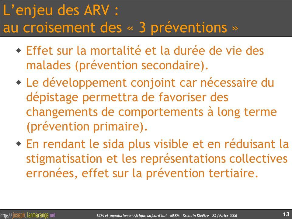 SIDA et population en Afrique aujourdhui - MSBM - Kremlin Bicêtre - 23 février 2006 13 Lenjeu des ARV : au croisement des « 3 préventions » Effet sur