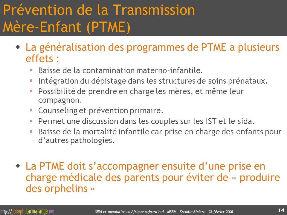 SIDA et population en Afrique aujourdhui - MSBM - Kremlin Bicêtre - 23 février 2006 14 Prévention de la Transmission Mère-Enfant (PTME) La généralisat