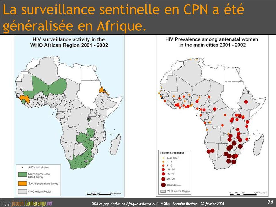 SIDA et population en Afrique aujourdhui - MSBM - Kremlin Bicêtre - 23 février 2006 21 La surveillance sentinelle en CPN a été généralisée en Afrique.