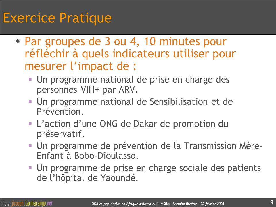SIDA et population en Afrique aujourdhui - MSBM - Kremlin Bicêtre - 23 février 2006 3 Exercice Pratique Par groupes de 3 ou 4, 10 minutes pour réfléch