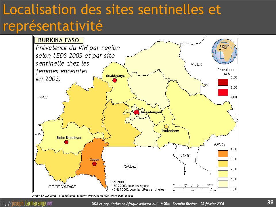 SIDA et population en Afrique aujourdhui - MSBM - Kremlin Bicêtre - 23 février 2006 39 Localisation des sites sentinelles et représentativité