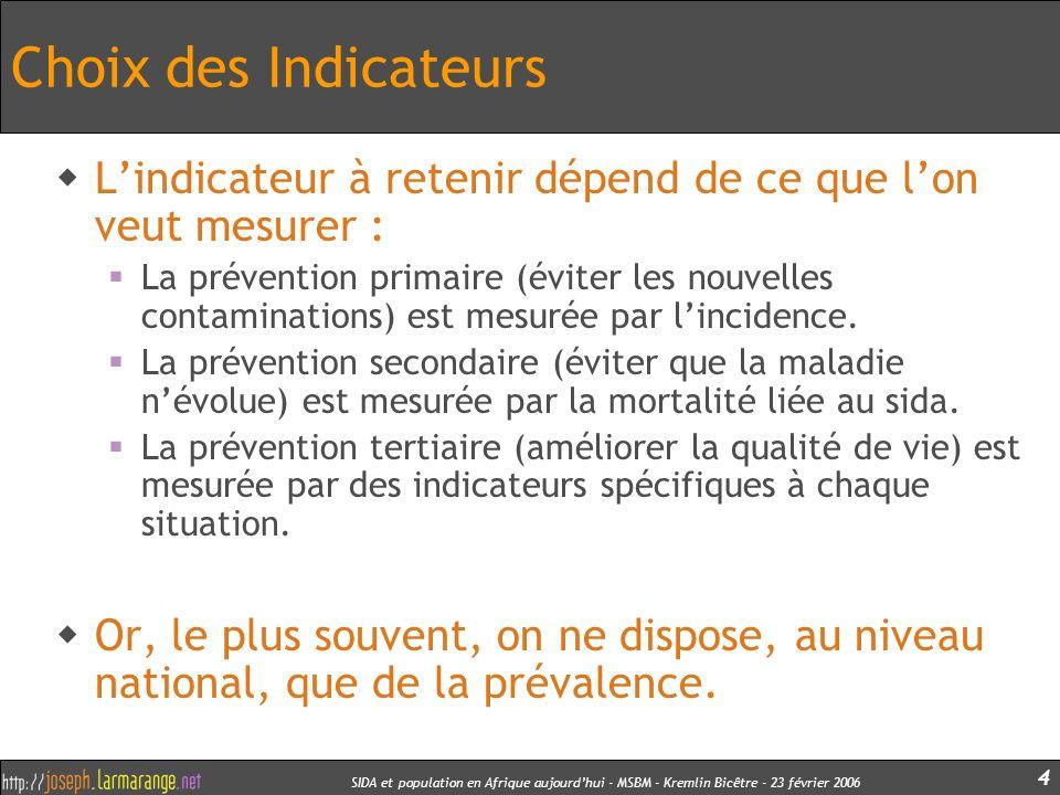 SIDA et population en Afrique aujourdhui - MSBM - Kremlin Bicêtre - 23 février 2006 5 Les problèmes d « attributivité » En raison de la multitude des programmes, non coordonnés pour la plupart, comment attribuer une variation de prévalence à un programme daction.