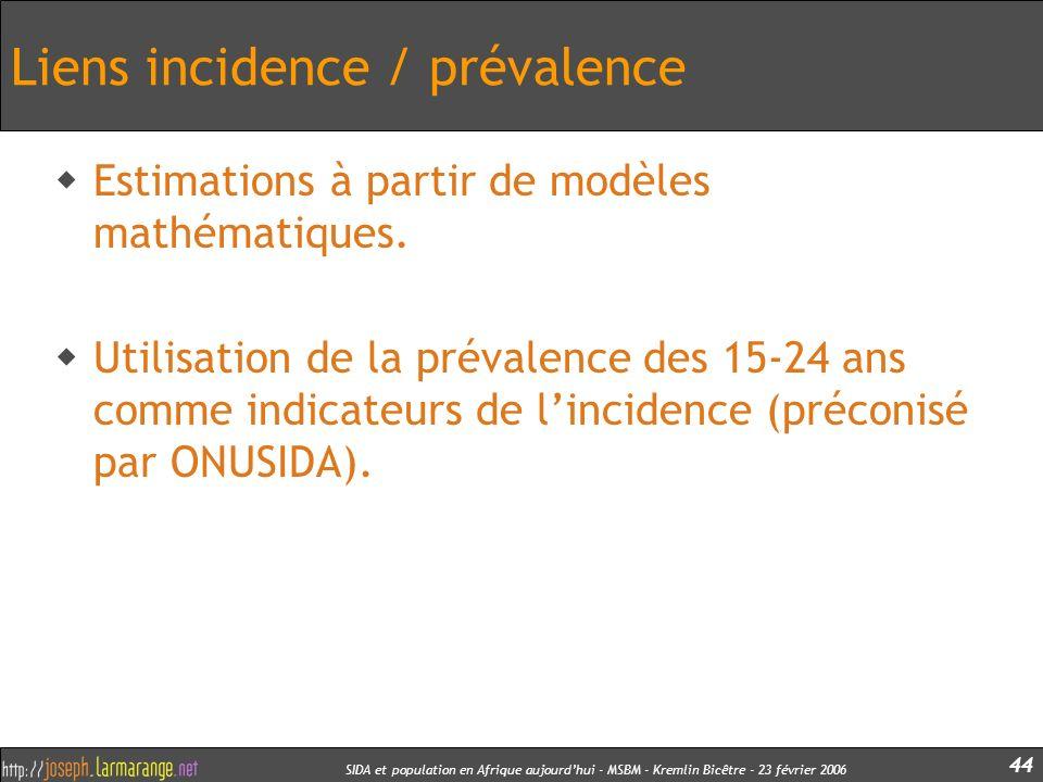 SIDA et population en Afrique aujourdhui - MSBM - Kremlin Bicêtre - 23 février 2006 44 Liens incidence / prévalence Estimations à partir de modèles ma