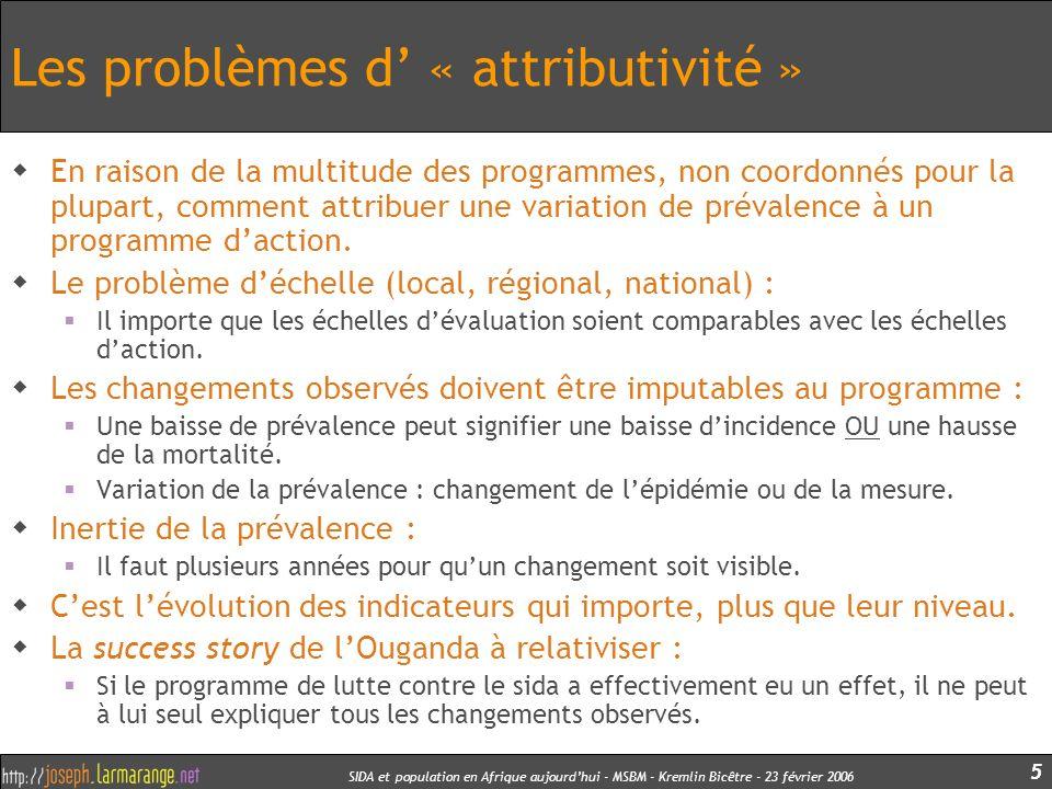 SIDA et population en Afrique aujourdhui - MSBM - Kremlin Bicêtre - 23 février 2006 5 Les problèmes d « attributivité » En raison de la multitude des