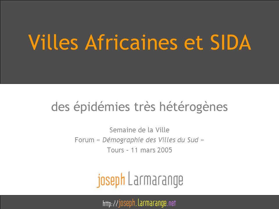 Villes Africaines et SIDA des épidémies très hétérogènes Semaine de la Ville Forum « Démographie des Villes du Sud » Tours – 11 mars 2005