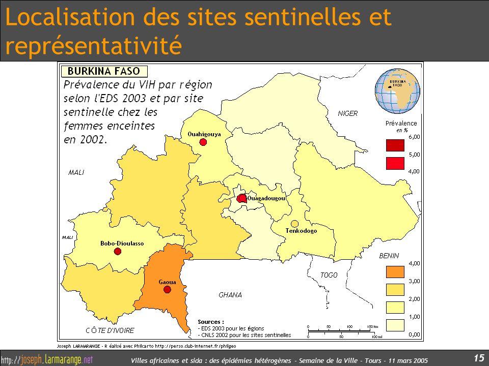 Villes africaines et sida : des épidémies hétérogènes - Semaine de la Ville - Tours - 11 mars 2005 15 Localisation des sites sentinelles et représenta