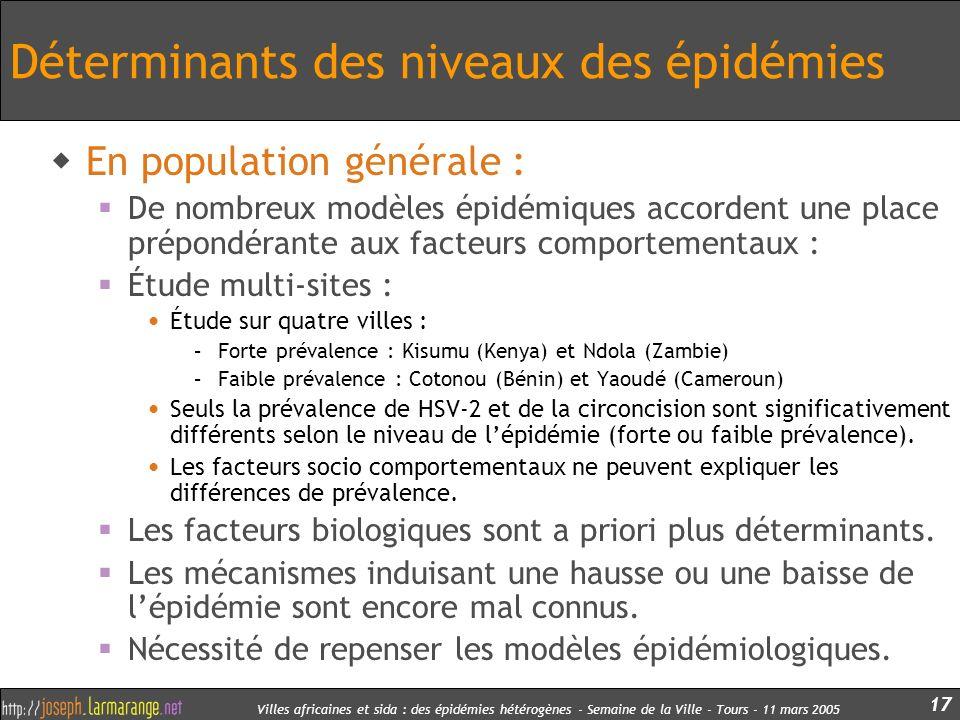 Villes africaines et sida : des épidémies hétérogènes - Semaine de la Ville - Tours - 11 mars 2005 17 Déterminants des niveaux des épidémies En popula