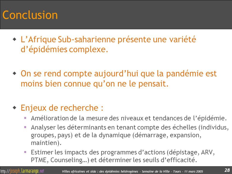 Villes africaines et sida : des épidémies hétérogènes - Semaine de la Ville - Tours - 11 mars 2005 28 Conclusion LAfrique Sub-saharienne présente une