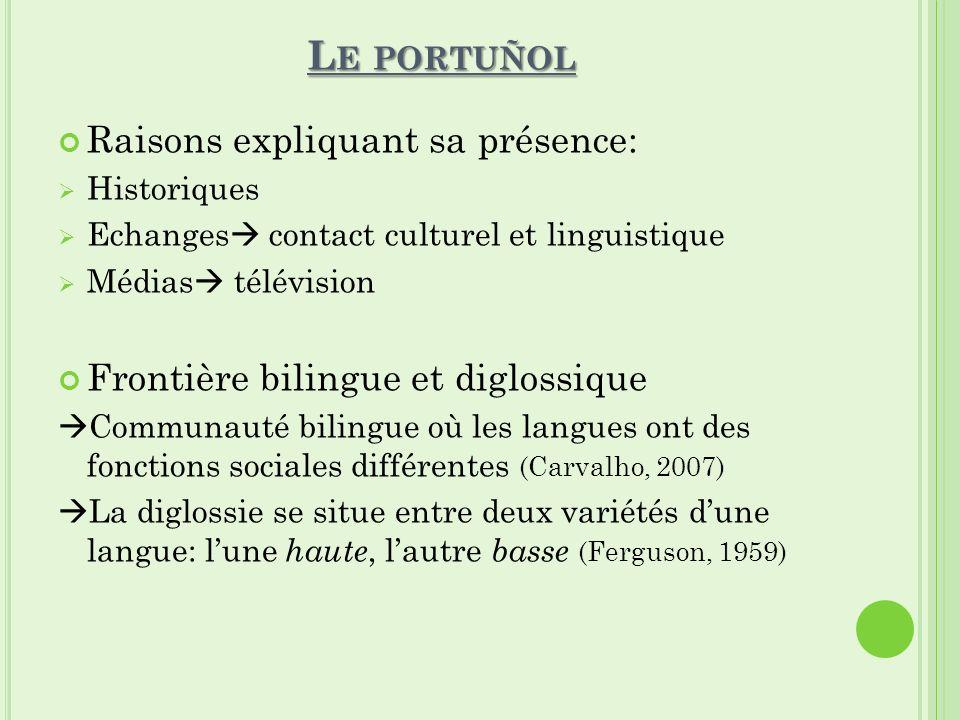 L E PORTUÑOL Raisons expliquant sa présence: Historiques Echanges contact culturel et linguistique Médias télévision Frontière bilingue et diglossique