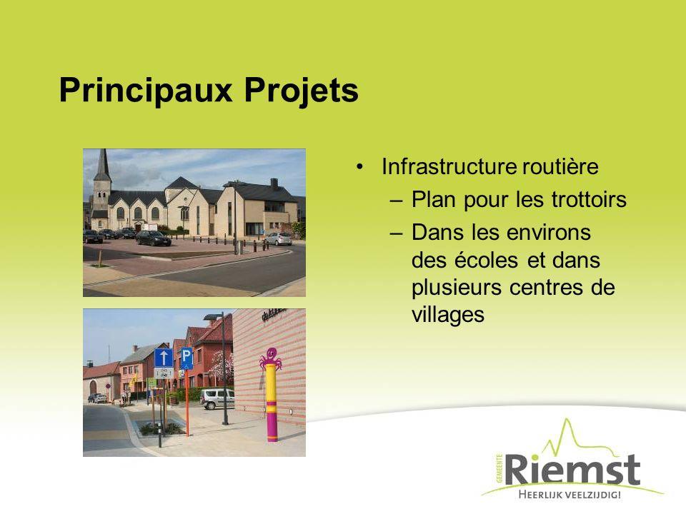 Principaux Projets Infrastructure routière –Plan pour les trottoirs –Dans les environs des écoles et dans plusieurs centres de villages