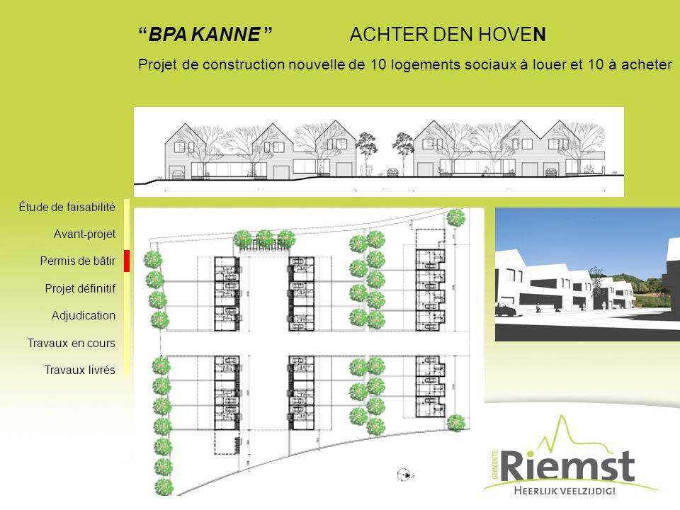 BPA KANNE ACHTER DEN HOVEN Projet de construction nouvelle de 10 logements sociaux à louer et 10 à acheter Étude de faisabilité Avant-projet Permis de