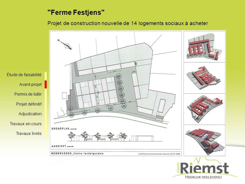 Ferme Festjens Projet de construction nouvelle de 14 logements sociaux à acheter Étude de faisabilité Avant-projet Permis de bâtir Projet définitif Adjudication Travaux en cours Travaux livrés