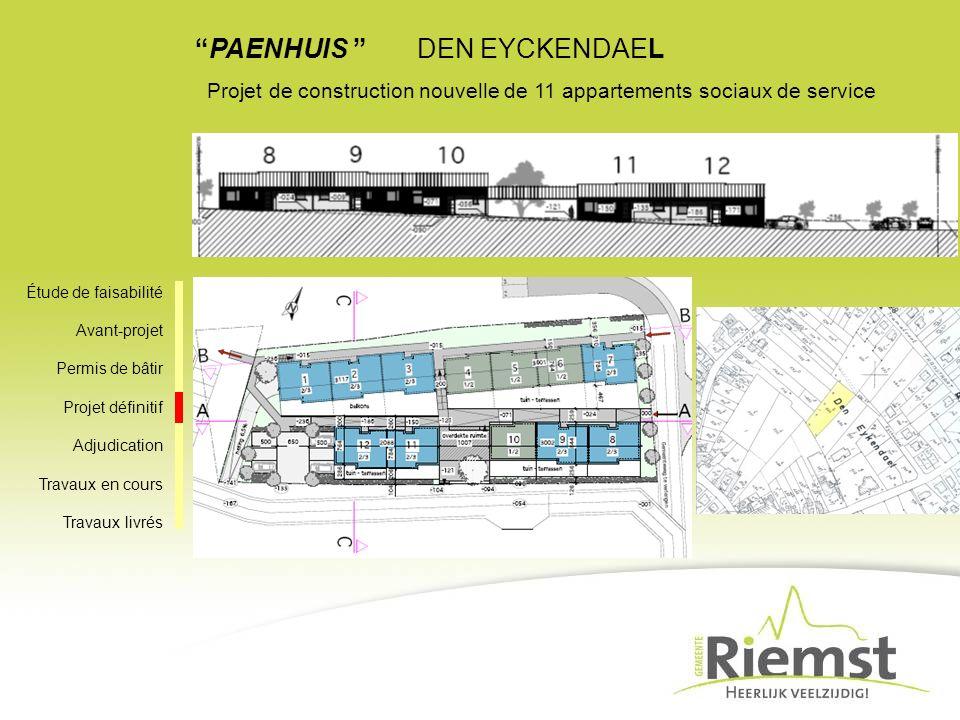 PAENHUIS DEN EYCKENDAEL Projet de construction nouvelle de 11 appartements sociaux de service Étude de faisabilité Avant-projet Permis de bâtir Projet