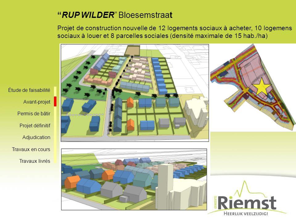 RUP WILDER Bloesemstraat Projet de construction nouvelle de 12 logements sociaux à acheter, 10 logemens sociaux à louer et 8 parcelles sociales (densi