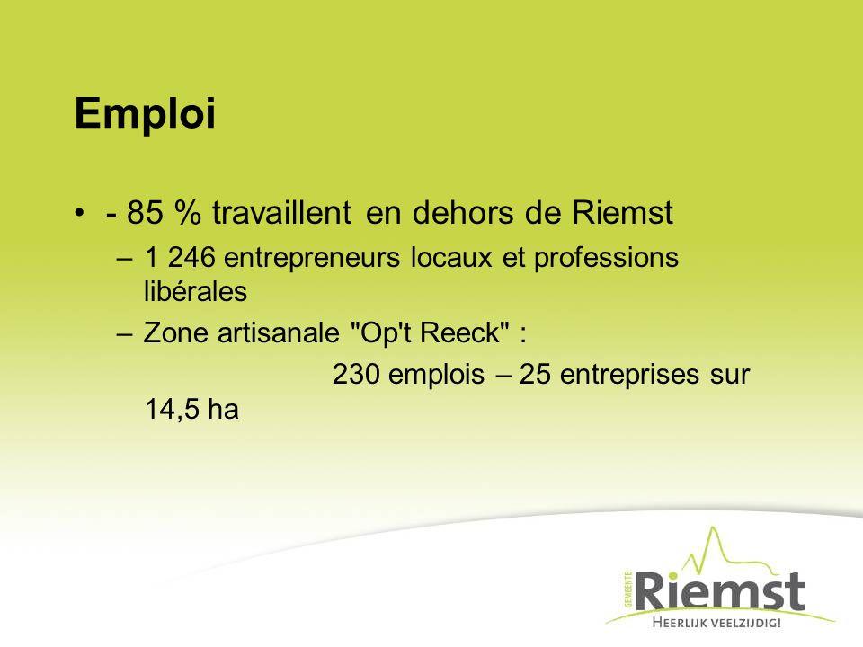 Emploi - 85 % travaillent en dehors de Riemst –1 246 entrepreneurs locaux et professions libérales –Zone artisanale Op t Reeck : 230 emplois – 25 entreprises sur 14,5 ha