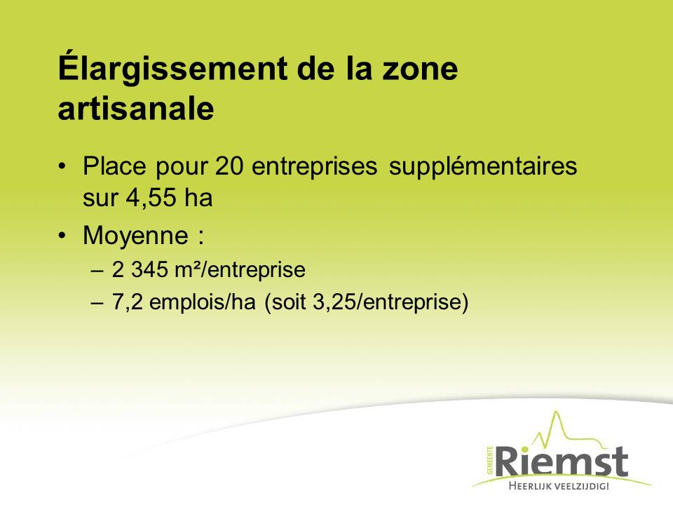 Élargissement de la zone artisanale Place pour 20 entreprises supplémentaires sur 4,55 ha Moyenne : –2 345 m²/entreprise –7,2 emplois/ha (soit 3,25/en