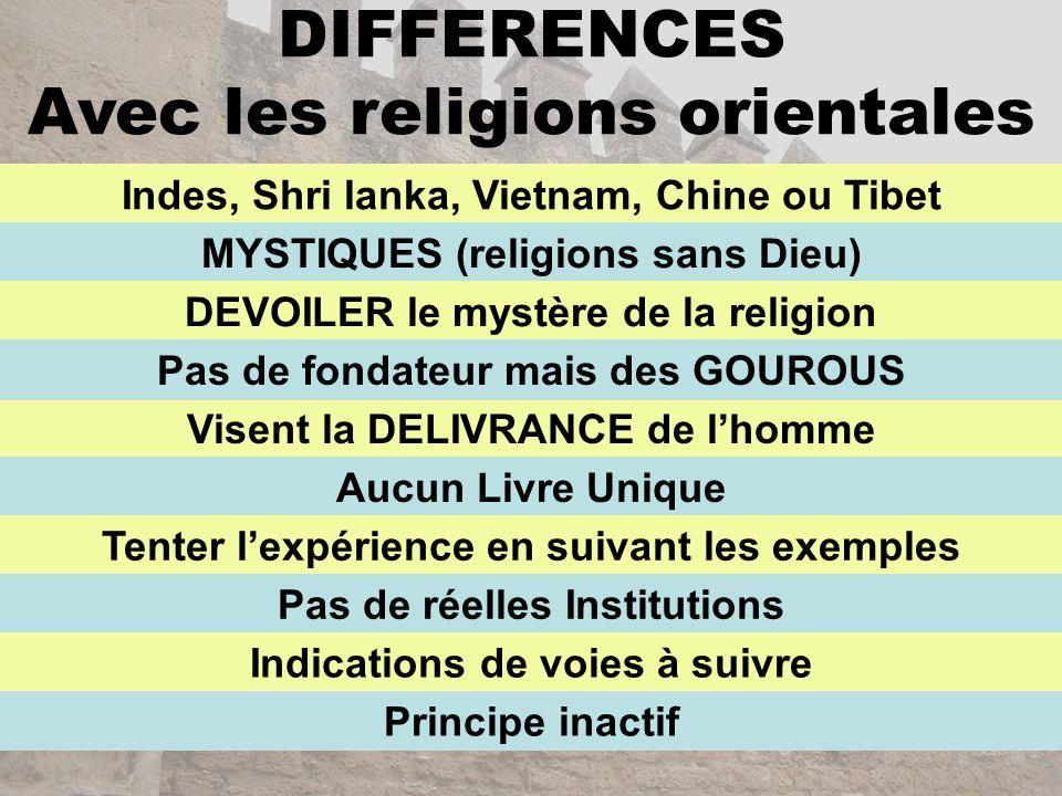 DIFFERENCES Avec les religions orientales Indes, Shri lanka, Vietnam, Chine ou Tibet MYSTIQUES (religions sans Dieu) DEVOILER le mystère de la religio