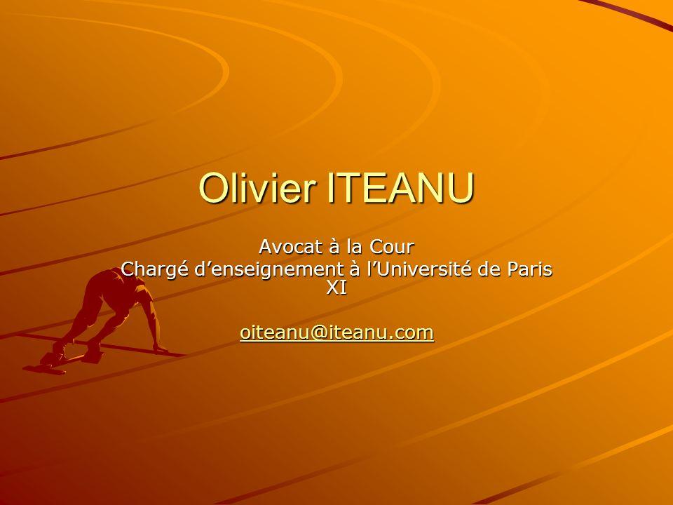 Olivier ITEANU Avocat à la Cour Chargé denseignement à lUniversité de Paris XI oiteanu@iteanu.com