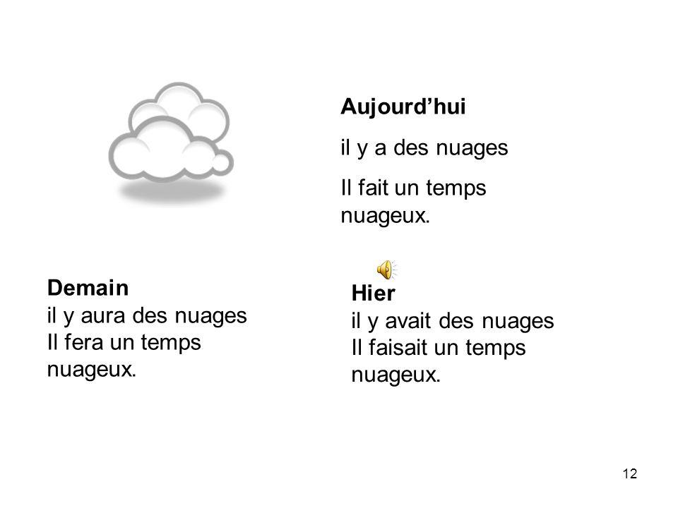 11 Aujourdhui Il pleut. Il fait un temps pluvieux. Demain il pleuvra. il fera un temps pluvieux. Hier il pleuvait. il faisait un temps pluvieux.