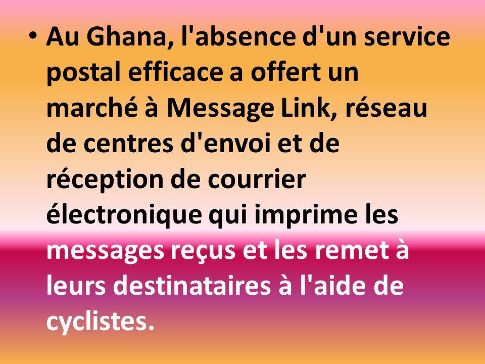 Au Ghana, l'absence d'un service postal efficace a offert un marché à Message Link, réseau de centres d'envoi et de réception de courrier électronique