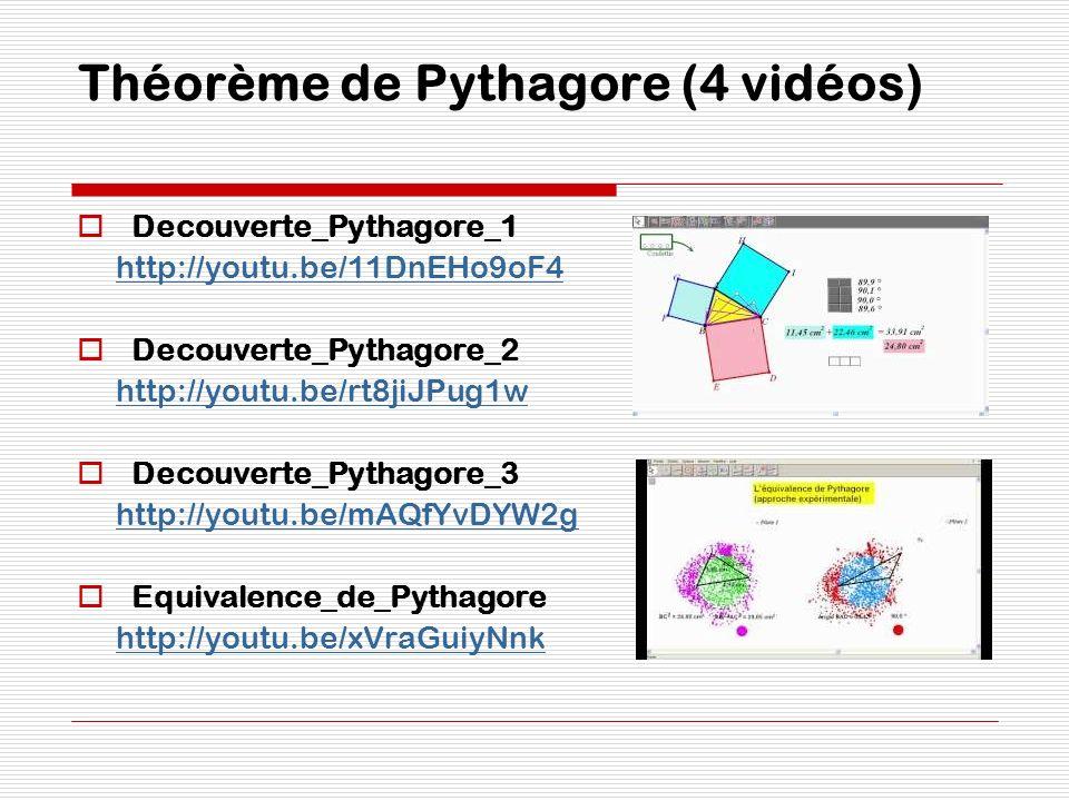 Théorème de Pythagore (4 vidéos) Decouverte_Pythagore_1 http://youtu.be/11DnEHo9oF4 Decouverte_Pythagore_2 http://youtu.be/rt8jiJPug1w Decouverte_Pyth