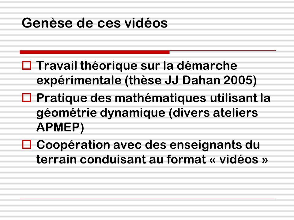 Genèse de ces vidéos Travail théorique sur la démarche expérimentale (thèse JJ Dahan 2005) Pratique des mathématiques utilisant la géométrie dynamique
