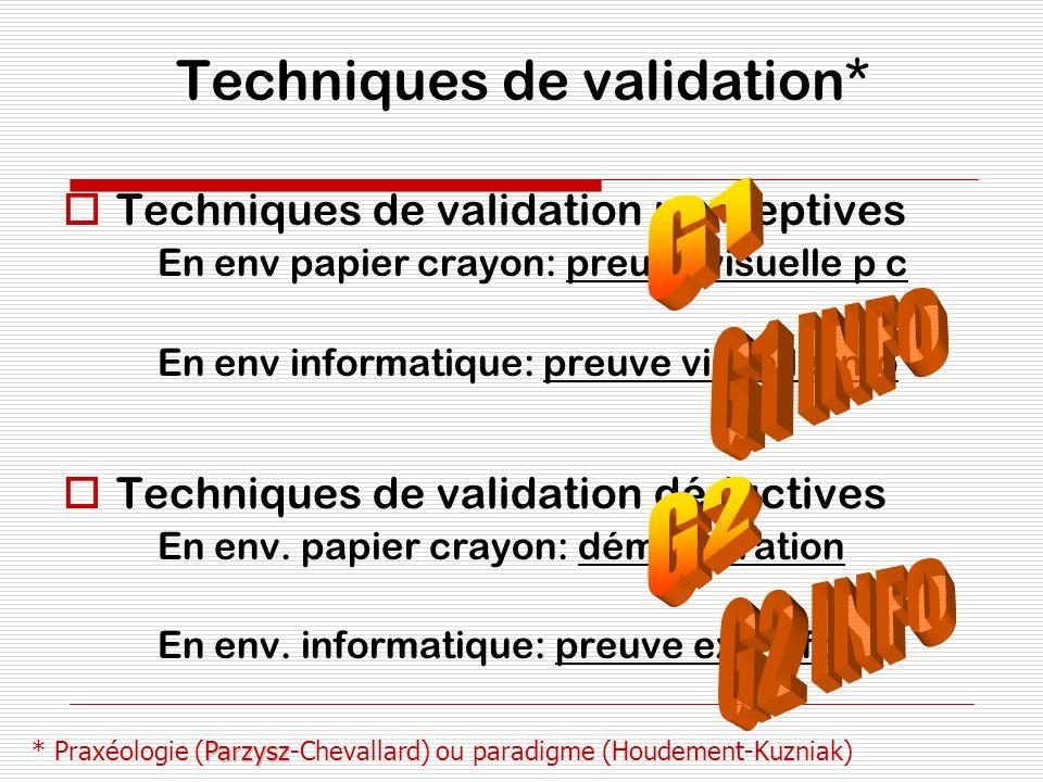 Techniques de validation* Techniques de validation perceptives En env papier crayon: preuve visuelle p c En env informatique: preuve visuelle info Tec