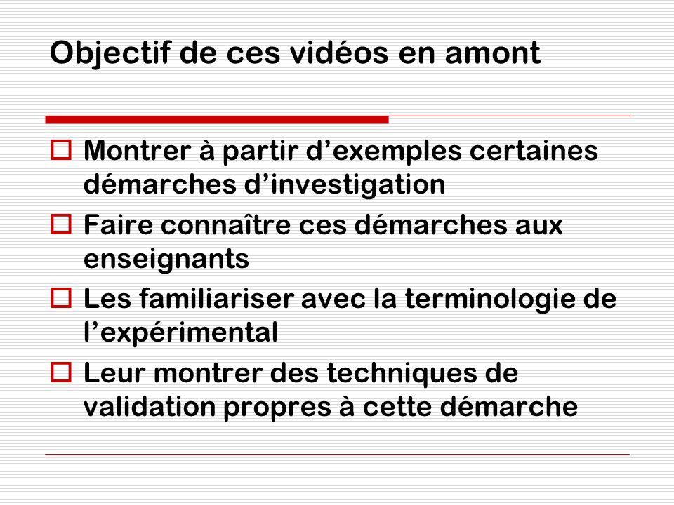 Objectif de ces vidéos en amont Montrer à partir dexemples certaines démarches dinvestigation Faire connaître ces démarches aux enseignants Les famili