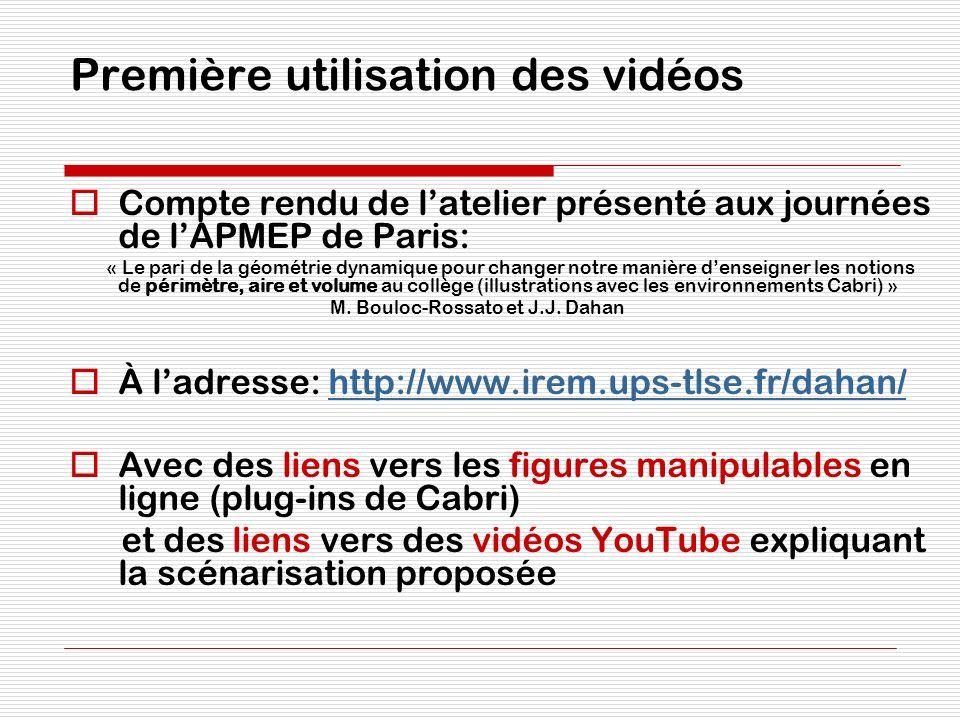 Première utilisation des vidéos Compte rendu de latelier présenté aux journées de lAPMEP de Paris: « Le pari de la géométrie dynamique pour changer no