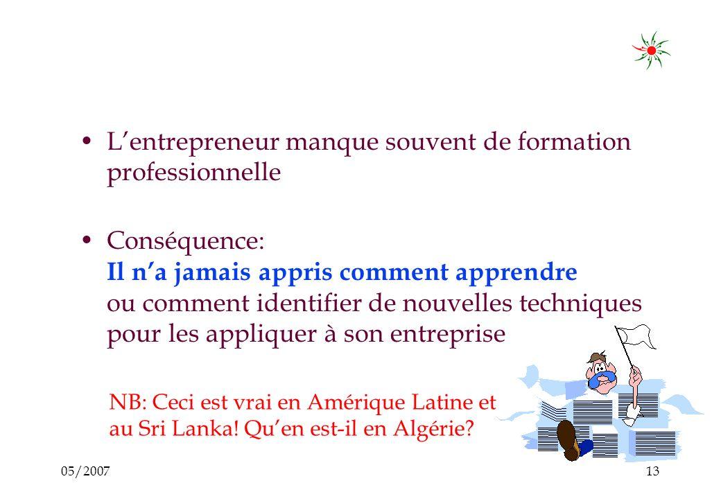 05/200712 Mais... Lentrepreneur est isolé au sein de son entreprise : –Lentrepreneur na personne à qui confier ses doutes ou avec lequel développer se