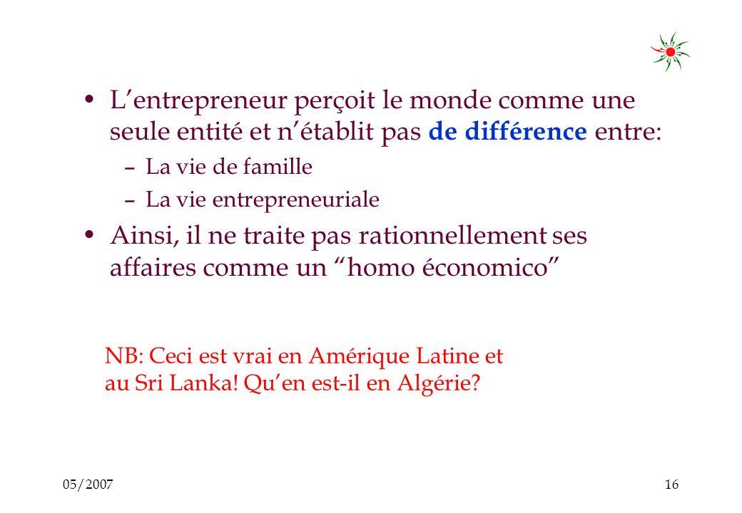 05/200715 Lentrepreneur est incapable daccumuler un capital pour des investissements majeurs: Aussitôt quil a un petit surplus, il doit répondre à une