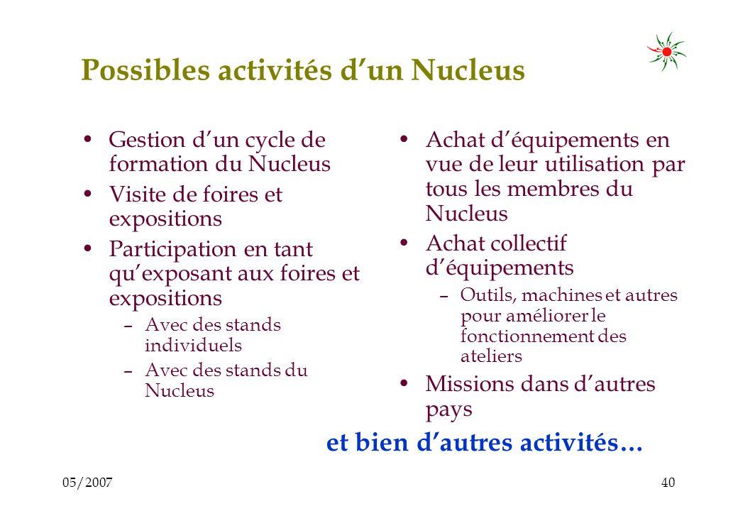 05/200739 Activités possibles dun Nucleus Formation –Membres et leurs staffs –Atelier, conférences et événements similaires Visite dautres institution