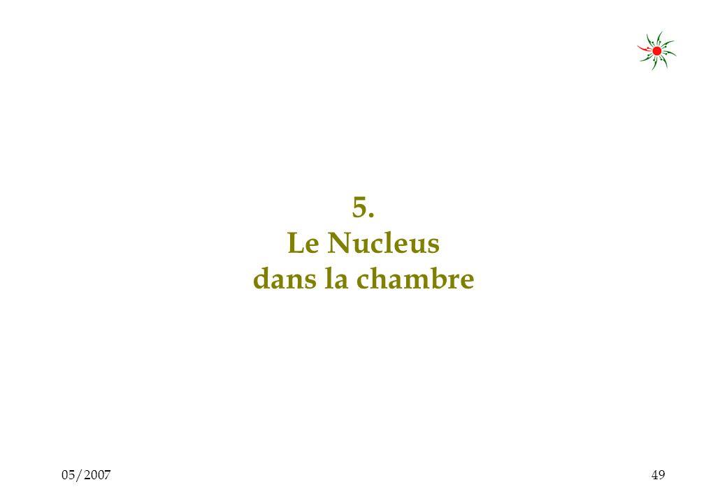 05/200748 Le Conseiller du Nucleus : ses tâches Au bon moment, le conseiller –Participe activement à la discussion –Contribue avec - un savoir-faire, - des questions, - des idées, - des expériences, - des comparaisons, - des propositions = Cest-à-dire quil conseille… Nucleus