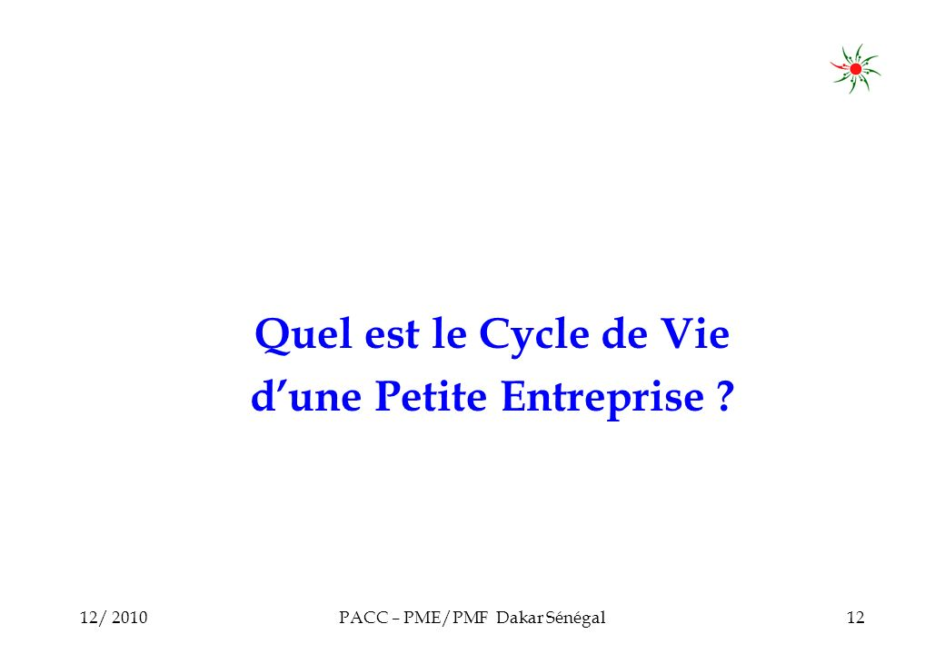 12/ 2010PACC – PME/PMF Dakar Sénégal12 Quel est le Cycle de Vie dune Petite Entreprise