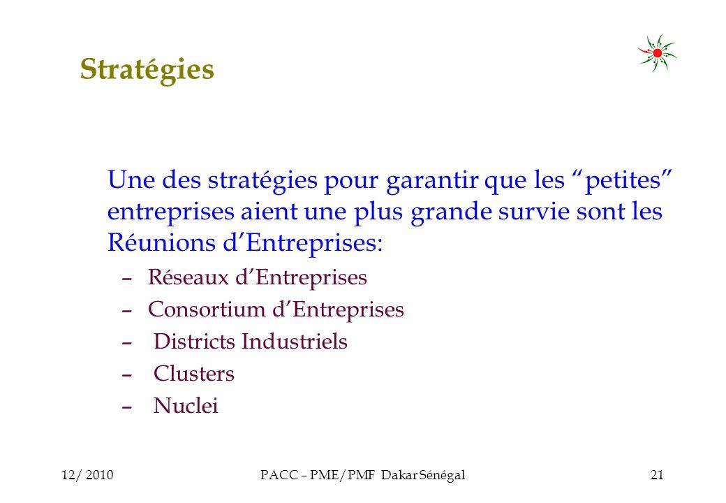 12/ 2010PACC – PME/PMF Dakar Sénégal21 Stratégies Une des stratégies pour garantir que les petites entreprises aient une plus grande survie sont les Réunions dEntreprises: – Réseaux dEntreprises – Consortium dEntreprises – Districts Industriels – Clusters – Nuclei