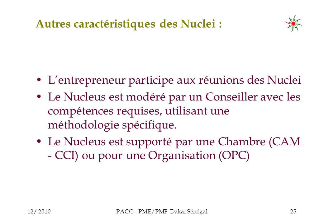 12/ 2010PACC – PME/PMF Dakar Sénégal25 Autres caractéristiques des Nuclei : Lentrepreneur participe aux réunions des Nuclei Le Nucleus est modéré par un Conseiller avec les compétences requises, utilisant une méthodologie spécifique.