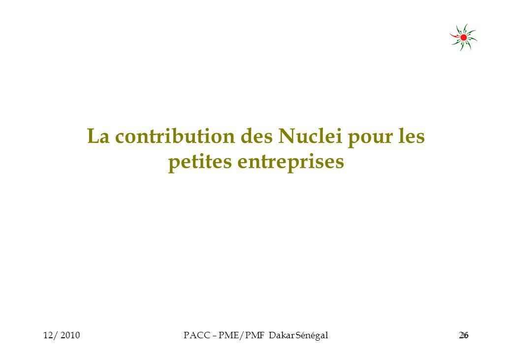 12/ 2010PACC – PME/PMF Dakar Sénégal26 La contribution des Nuclei pour les petites entreprises