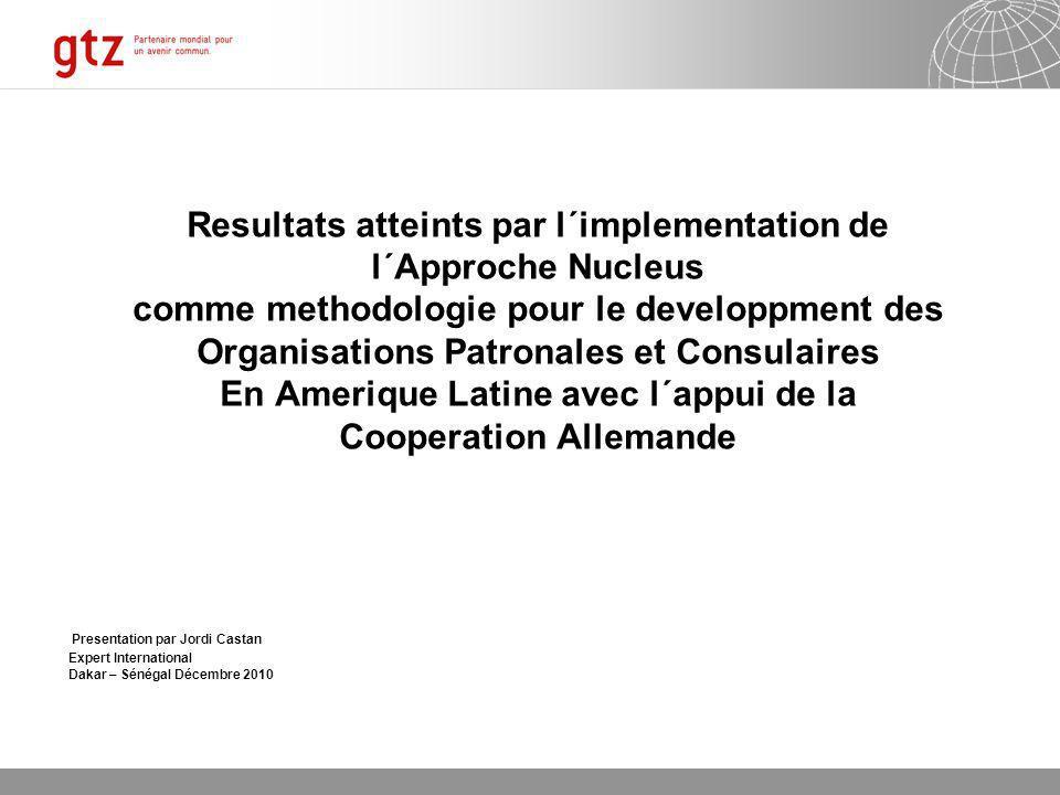 07.01.2014 Seite 1 Page 1 Resultats atteints par l´implementation de l´Approche Nucleus comme methodologie pour le developpment des Organisations Patr