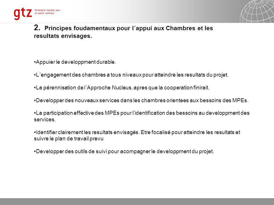 07.01.2014 Seite 5 Page 5 2. Principes foudamentaux pour l´appui aux Chambres et les resultats envisages. Appuier le developpment durable. L´engagemen