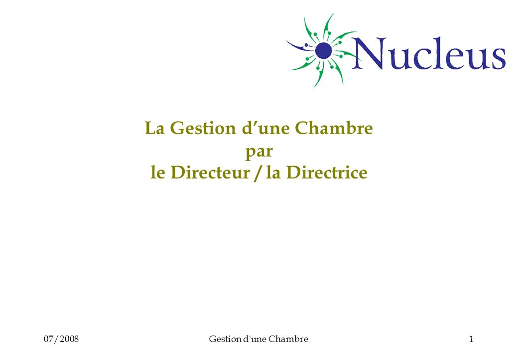 07/2008Gestion d'une Chambre1 La Gestion dune Chambre par le Directeur / la Directrice