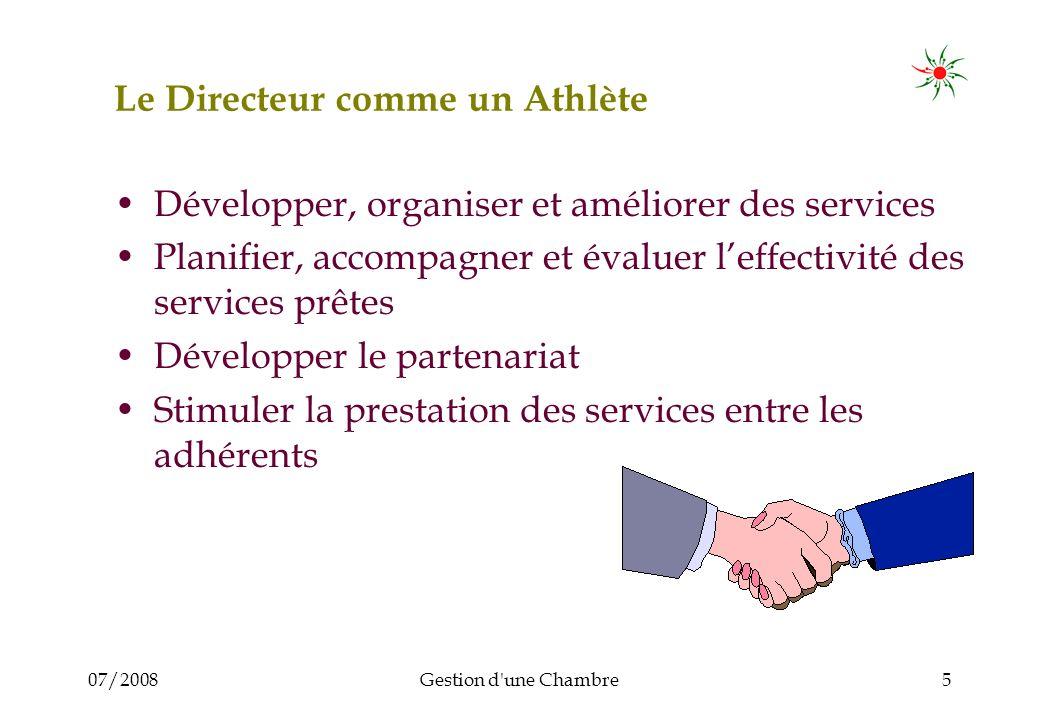 07/2008Gestion d'une Chambre5 Le Directeur comme un Athlète Développer, organiser et améliorer des services Planifier, accompagner et évaluer leffecti