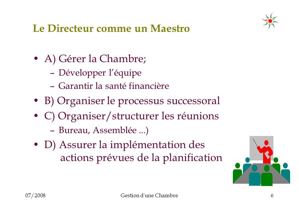 07/2008Gestion d'une Chambre6 Le Directeur comme un Maestro A) Gérer la Chambre; –Développer léquipe –Garantir la santé financière B) Organiser le pro